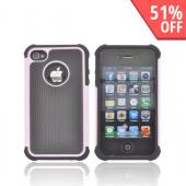 AT&amp;T/ Verizon Apple iPhone 4, iPhone 4S Textured Hybrid Hard Cover Over Silicone Case - Baby Pink/ Black