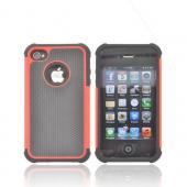 AT&amp;T/ Verizon Apple iPhone 4, iPhone 4S Textured Hybrid Hard Cover Over Silicone Case - Red/ Black