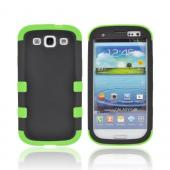 Samsung Galaxy S3 Rubberized Hard Case Over Silicone Case - Black/ Neon Green