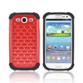 Samsung Galaxy S3 Hard Cover Over Silicone Case w/ Bling - Black/ Red w/ Silver Gems