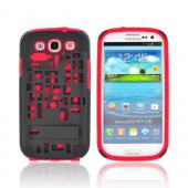 Samsung Galaxy S3 Hard Case Over Silicone w/ Kickstand &amp; ID Slot - Red/ Black Digital Cube Design