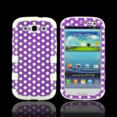 Samsung Galaxy S3 Hard Case Over Silicone Case - Purple/ White Polka Dots