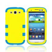 Samsung Galaxy S3 Rubberized Hard Case Over Silicone Case - Yellow/ Teal