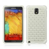 Pearl White Hard Cover W/ Bling Over White Silicone Skin Case for Samsung Galaxy Note 3