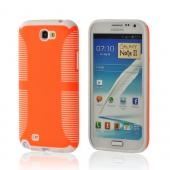 Orange Hard Back on White Crystal Silicone Case for Samsung Galaxy Note 2