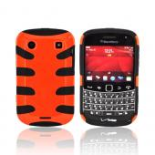 Blackberry Bold 9900, 9930 Hard Fishbone on Silicone Case - Orange/ Black