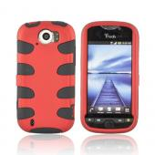HTC Mytouch 4G Slide Hard Rubberized Fishbone on Silicone Case - Red/ Black