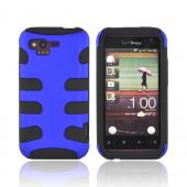 HTC Rhyme Rubberized Hard Fishbone on Silicone Case - Blue/ Black