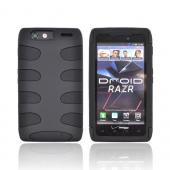 Motorola Droid RAZR Rubberized Hard Fishbone on Silicone Case - Black