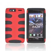 Motorola Droid RAZR Rubberized Hard Fishbone on Silicone Case - Red/ Black