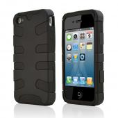 Apple Verizon/ AT&amp;T iPhone 4, iPhone 4S Hard Rubberized Fish Bone on Silicone Case - Black
