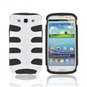 Samsung Galaxy S3 Hard Fishbone on Silicone Case - White/ Black