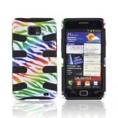 AT&amp;T Samsung Galaxy S2 Hard Fishbone on Silicone Case - Rainbow Zebra on White/ Black