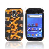 T-Mobile Samsung Galaxy S2 Hard Fishbone on Silicone Case - Brown Leopard/ Black