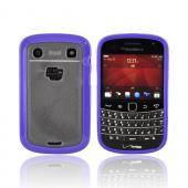 Blackberry Bold 9900, 9930 Hard Back w/ Gummy Silicone Border - Purple/ Frost White