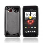 HTC Droid Incredible 4G LTE Hard Back Case w/ Gummy Crystal Silicone Lining - Black/ Frost White