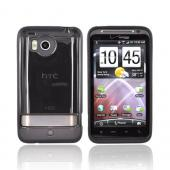 HTC Thunderbolt Hard Back Cover w/ Gummy Border Case - Smoke/ Black
