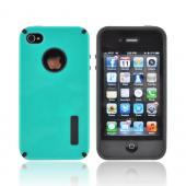 AT&amp;T/ Verizon Apple iPhone 4, iPhone 4S Hybrid Hard Case w/ Silicone Lining - Aqua/ Black Truffle
