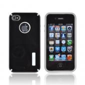 AT&T/ Verizon Apple iPhone 4, iPhone 4S Hybrid Hard Case w/ Silicone Lining - Black/ Gray Truffle