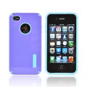 AT&T/ Verizon Apple iPhone 4, iPhone 4S Hybrid Hard Case w/ Silicone Lining - Purple/ Baby Blue Truffle