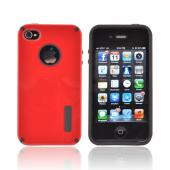 AT&T/ Verizon Apple iPhone 4, iPhone 4S Hybrid Hard Case w/ Silicone Lining - Red/ Black Truffle