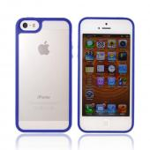 Apple iPhone 5 Hard Case w/ Gummy Silicone Border - Blue/ Frost White