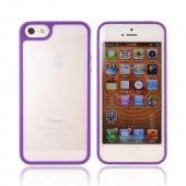Apple iPhone 5 Hard Case w/ Gummy Silicone Border - Purple/ Frost White