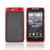 Motorola Droid RAZR Hard Back w/ Gummy Silicone Border - Red/ Black