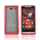 Motorola Droid RAZR M Hard Back Case w/ Gummy Crystal Silicone Lining - Red/ Frost White