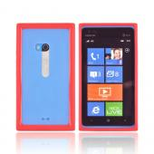 Nokia Lumia 900 Hard Back w/ Crystal Silicone Border - Red/ Clear