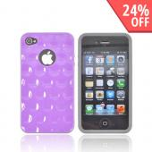 AT&T/ Verizon Apple iPhone 4, iPhone 4S Dimpled Hard Back w/ Crystal Silicone Border Case - Purple/ Gray