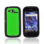 Pantech Burst 9070 Hard Back w/ Gummy Silicone Border - Green/ Black