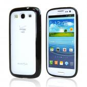 Samsung Galaxy S3 Hard Back w/ Gummy Silicone Border Case - Black/ Smoke