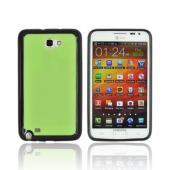 Samsung Galaxy Note Hard Case w/ Gummy Silicone Border - Neon Green/ Black
