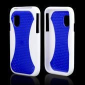 Samsung Fascinate i500 Hard Case w/ Gummy Silicone Boarder - Blue/Black