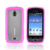 Samsung Exhibit T759 Hard Back w/ Gummy Silicone Lining - Hot Pink/ Clear