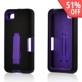 Black Silicone on Purple Hard Case w/ Kickstand for Blackberry Z10