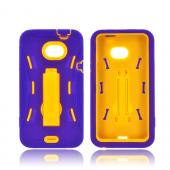 HTC EVO 4G LTE Silicone Over Hard Case w/ Kickstand - Purple/ Yellow