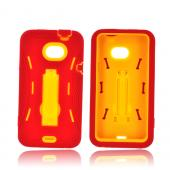 HTC EVO 4G LTE Silicone Over Hard Case w/ Kickstand - Red/ Yellow