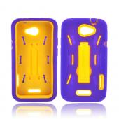 HTC One S Silicone Over Hard Case w/ Stand - Purple/ Yellow