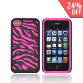 AT&T/ Verizon Apple iPhone 4, iPhone 4S Zebra Shell On Silicone Case - Black/ Hot Pink Zebra