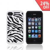 AT&T/ Verizon Apple iPhone 4, iPhone 4S Zebra Shell On Silicone Case - White/ Black Zebra