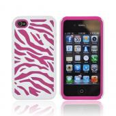 AT&amp;T/ Verizon Apple iPhone 4, iPhone 4S Zebra Shell On Silicone Case - White/ Hot Pink Zebra