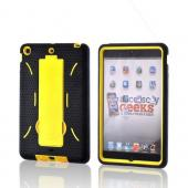 Yellow/ Black Dual Layer Hard Case w/ Kickstand for Apple iPad Mini