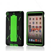 Neon Green/ Black Silicone Over Hard Case w/ Stand for Apple iPad Mini