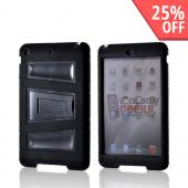 Black Silicone Over Hard Case w/ Locking Stand &amp; Hand Grips for Apple iPad Mini