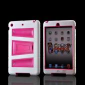 White/ Hot Pink Silicone Over Hard Case w/ Locking Stand &amp; Hand Grips for Apple iPad Mini