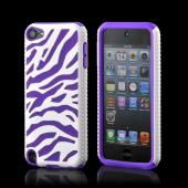 White/ Purple Zebra Hard Shell on Silicone Case for Apple iPod Touch 5