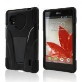 Black Silicone Over Hard Case w/ Stand for LG Optimus G (Sprint)