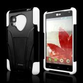 White on Black Silicone Over Hard Case w/ Stand for LG Optimus G (Sprint)